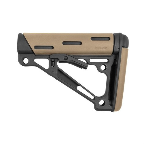 AR-15 OverMolded Buttstock Collapsible Mil-Spec FDE Rubber