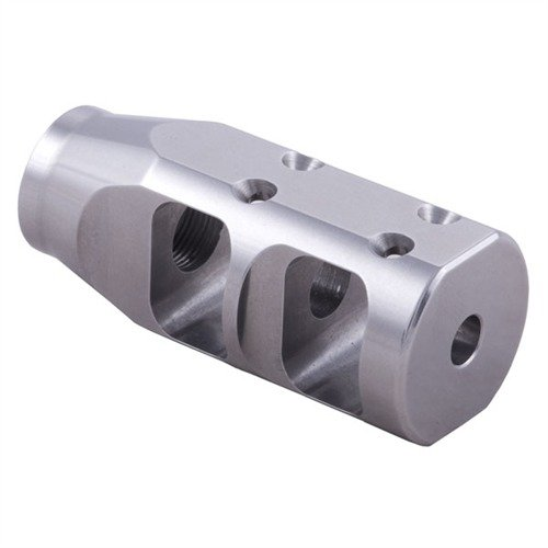 Large Tactical Compensator 22 Caliber 1/2-28 SS Silver